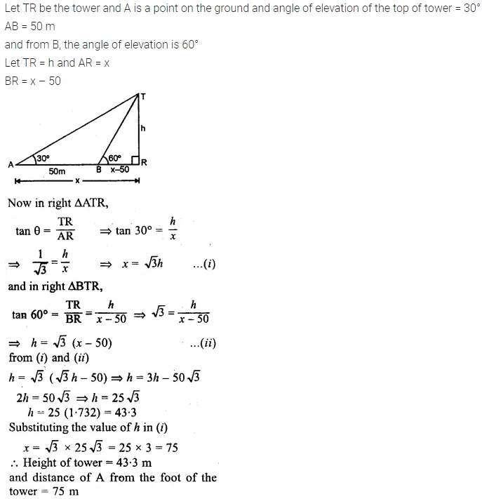 ML Aggarwal Class 10 Solutions for ICSE Maths Chapter 21 Heights and Distances Chapter Test 1