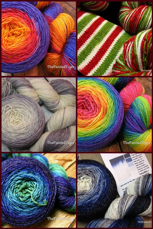 Sparkle Sock Yarn, hand dyed in gradients and stripes