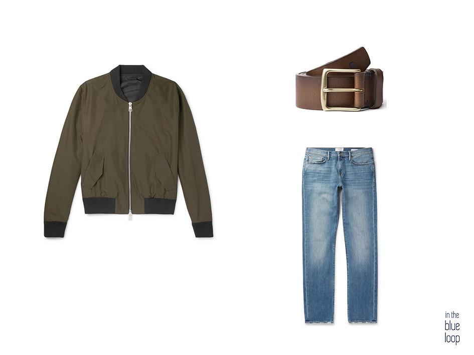 Chaqueta bomber con vaqueros o jeans y cinturón de cuero marrón Garoé de blue hole