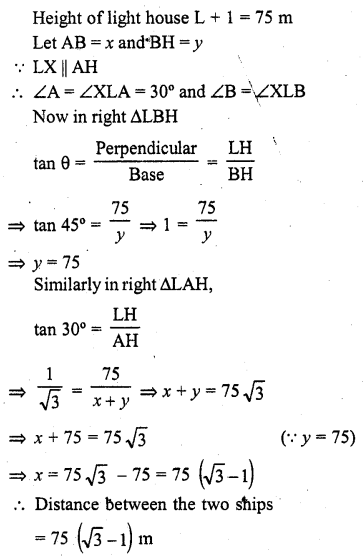 RD Sharma Class 10 Solutions Chapter 12 Heights and Distances Ex 12.1 - 29a