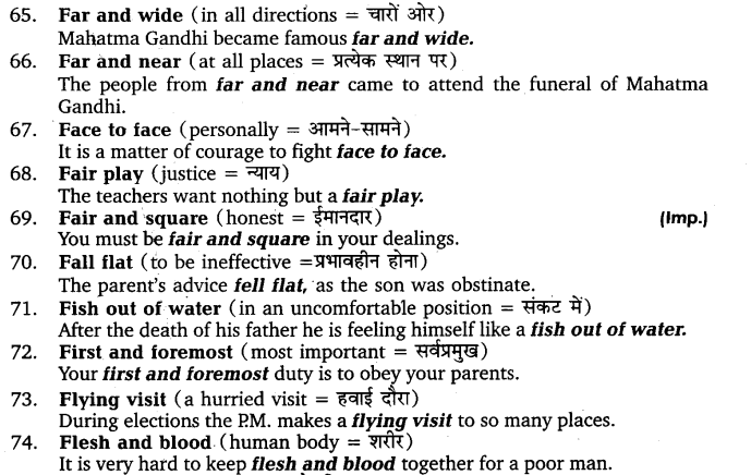 UP Board Solutions for Class 11 English Vocabulary Chapter 9 Idioms and Phrases 10