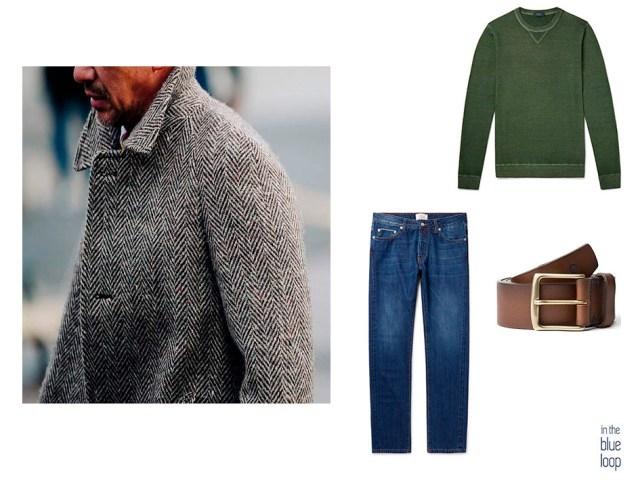 Look masculino casual con vaqueros, cinturón Garoé de blue hole y jersey verde