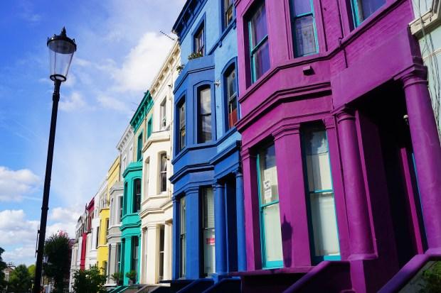 Rainbow Row in Notting Hill Neighborhood