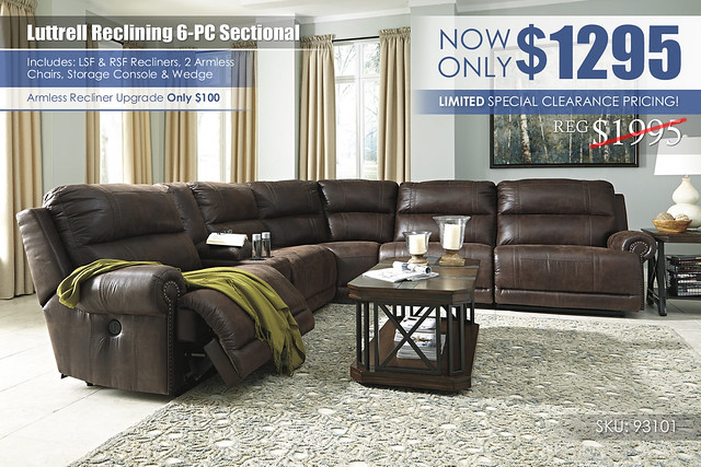 Luttrell Reclining 6PC Sectional_93101_Clearance Special