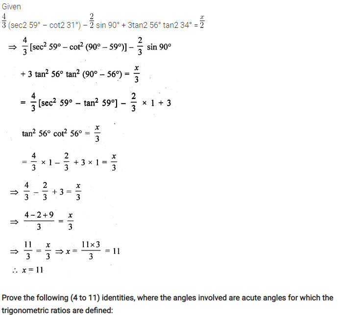 ML Aggarwal Class 10 Solutions for ICSE Maths Chapter 19 Trigonometric Identities Chapter Test 3