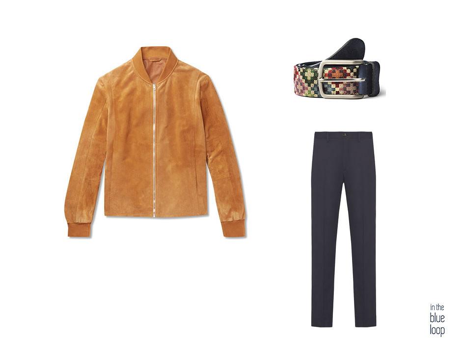 Look smart-casual con cazadora de ante, cinturón Tauce de blue hole y pantalones chinos azules
