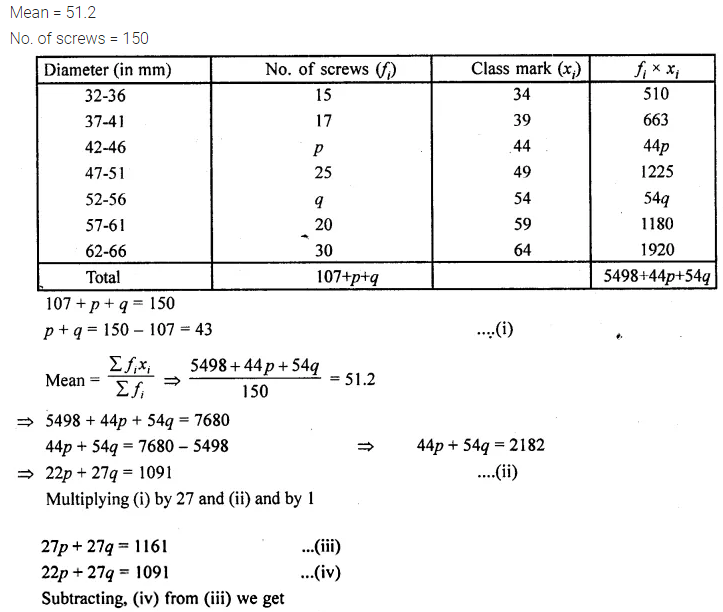 ML Aggarwal Class 10 Solutions for ICSE Maths Chapter 23 Measures of Central Tendency Chapter Test 13