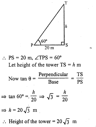 RD Sharma Class 10 Solutions Chapter 12 Heights and Distances Ex 12.1 - 1