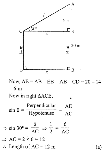 RD Sharma Class 10 Solutions Chapter 12 Heights and Distances MCQS - 8