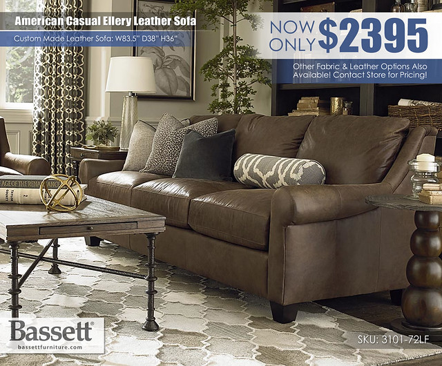 American Casual Ellery Leather Bassett Sofa_3101-72LF