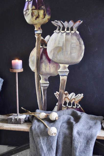 Schilderij Papavers kandelaar linnen doek