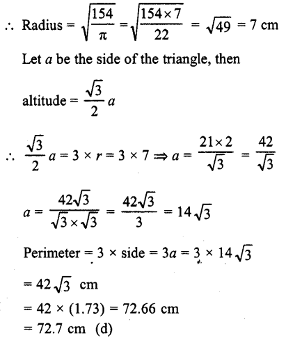 RD Sharma Class 10 Solutions Chapter 13 Areas Related to Circles MCQS -10