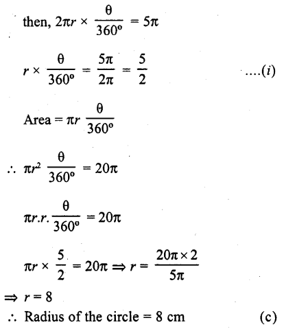 RD Sharma Class 10 Solutions Chapter 13 Areas Related to Circles MCQS -33