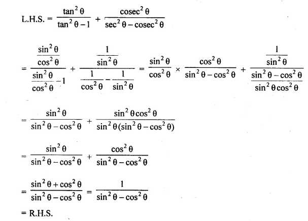 ML Aggarwal Class 10 Solutions for ICSE Maths Chapter 19 Trigonometric Identities Chapter Test 9b
