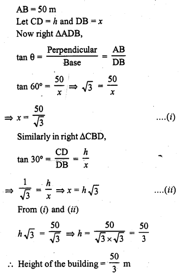 RD Sharma Class 10 Solutions Chapter 12 Heights and Distances Ex 12.1 - 30a