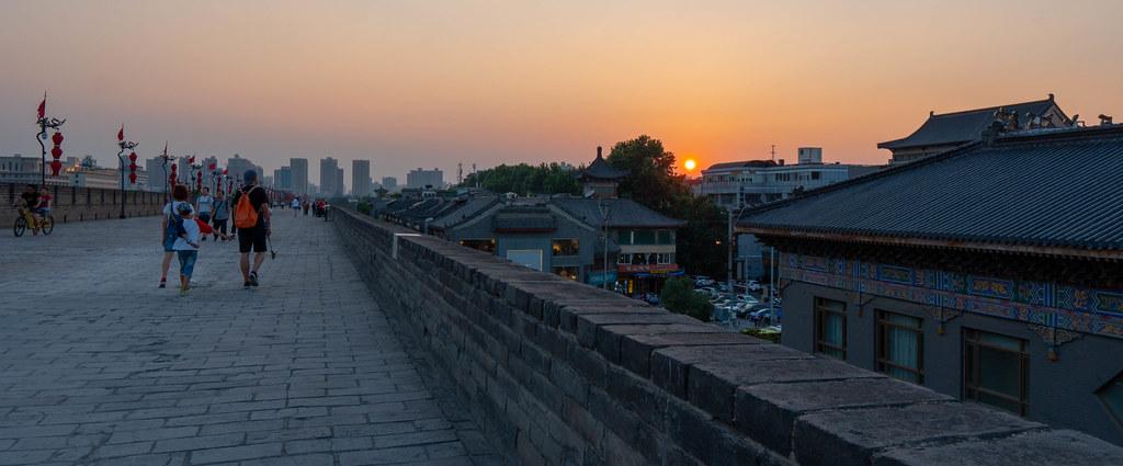 Sunset on Xi'an city wall