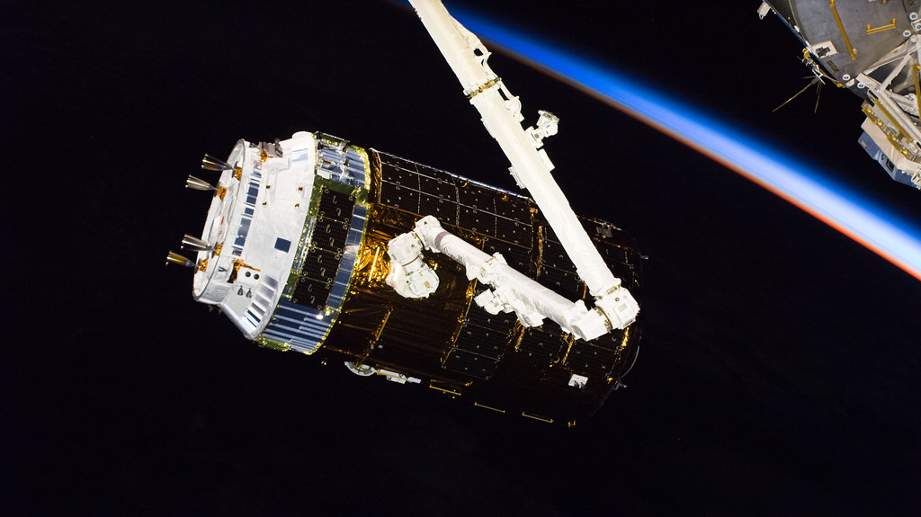 Japan's H-II Transfer Vehicle-7 after it was captured by the Canadarm2