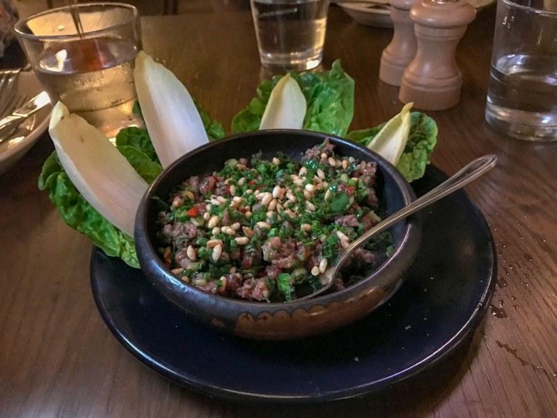 Charred Lamb Tartare, ginger, mint, ras el hanout, lime, crispy rice, lettuce cups $13.95
