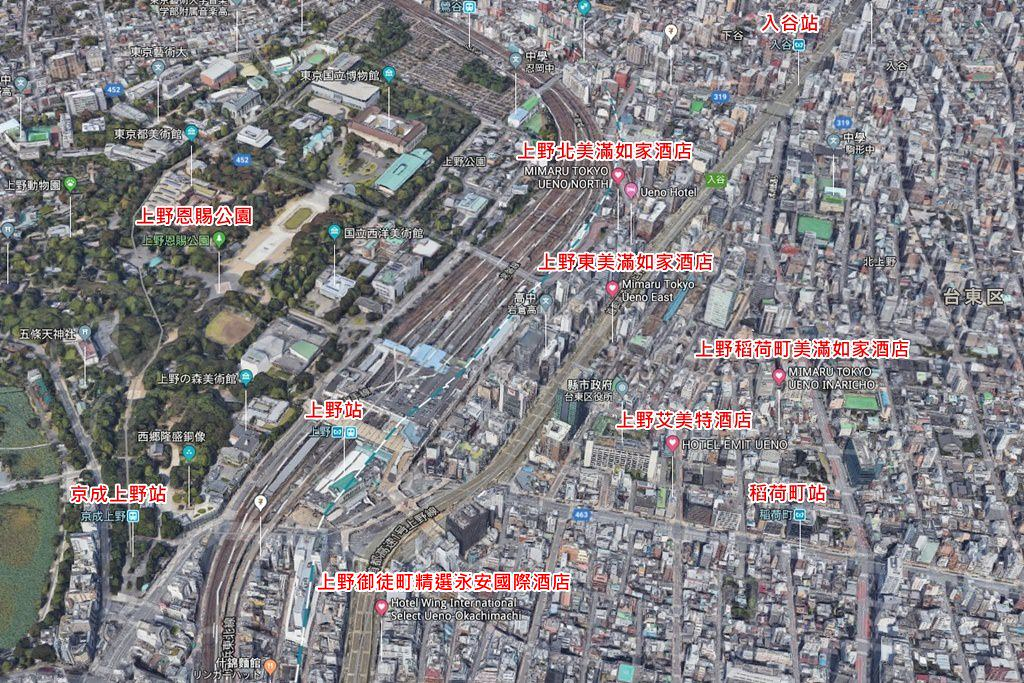 2018 Ueno Hotels Map