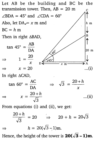NCERT Solutions for Class 10 Maths Chapter 9 Some Applications of Trigonometry 10