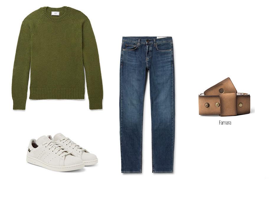 Look casual masculino con jeans o vaqueros, sneakers blancas, jersey y cinturón Famara de Blue Hole