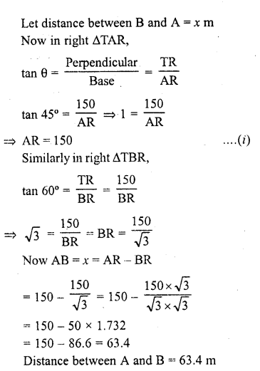 RD Sharma Class 10 Solutions Chapter 12 Heights and Distances Ex 12.1 - 13a
