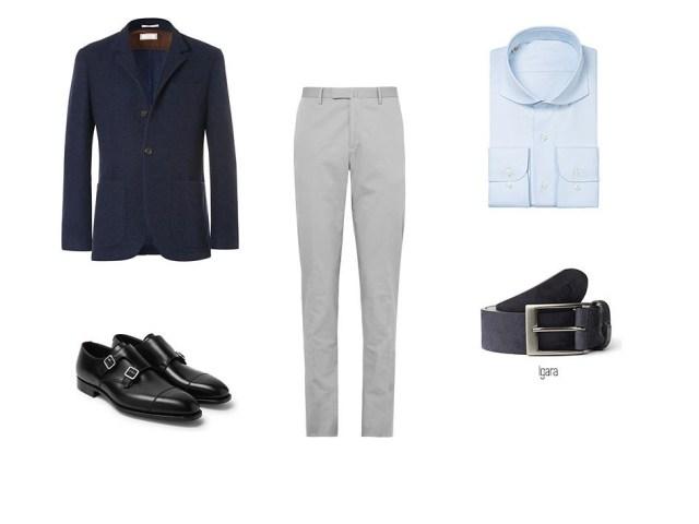 Look élégant et décontracté pour hommes avec un pantalon chino, une chemise bleue, un blazer bleu, une ceinture à trous bleus Igara et des chaussures en cuir noires