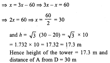 RD Sharma Class 10 Solutions Chapter 12 Heights and Distances Ex 12.1 - 16aa