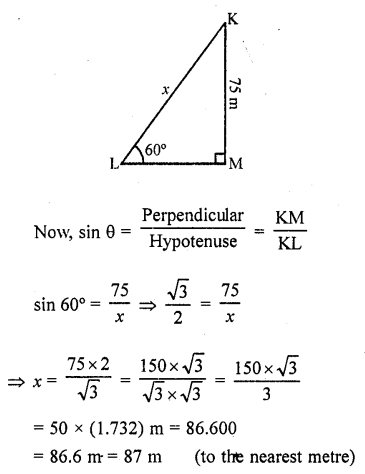 RD Sharma Class 10 Solutions Chapter 12 Heights and Distances Ex 12.1 - 5