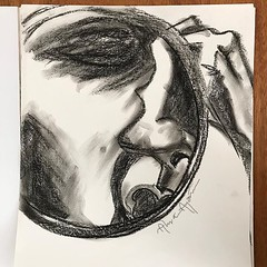 Found an old charcoal drawing. If you haven't guessed it's Q looking through a mirror.