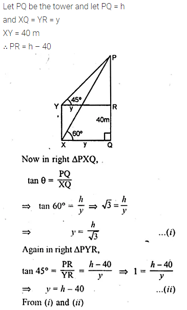 ML Aggarwal Class 10 Solutions for ICSE Maths Chapter 21 Heights and Distances Chapter Test 6