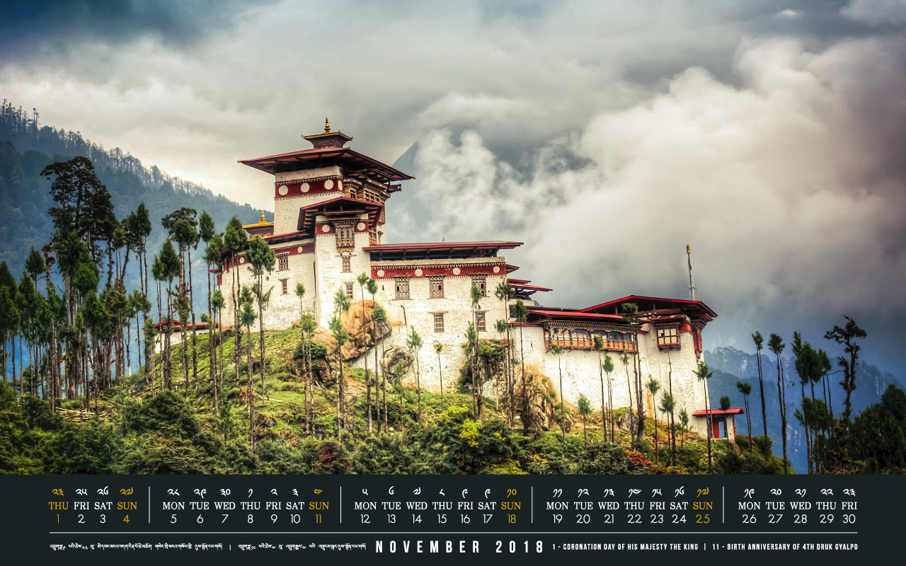 Bhutan calendar: November 2018