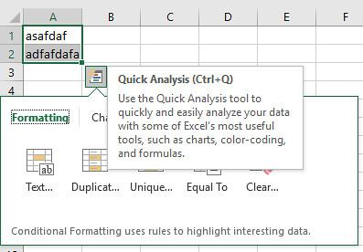 Show Quick Analysis Options on Selection alifashifan.com