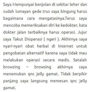 Testimoni QnC Jelly Gamat atasi benjolan