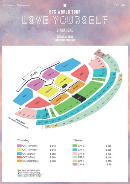 BTS LOVE YOURSELF IN SINGAPORE SEATING PLAN