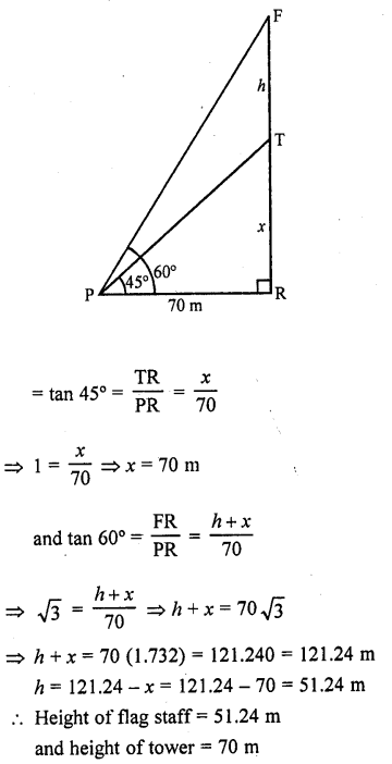 RD Sharma Class 10 Solutions Chapter 12 Heights and Distances Ex 12.1 - 7a