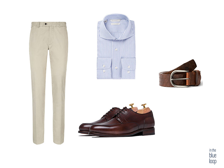Look smart-casual con cinturón Nublo blue hole, chinos, camisa azul de rayas y zapatos derby