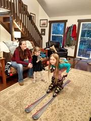 Trying on Grandma's Skis