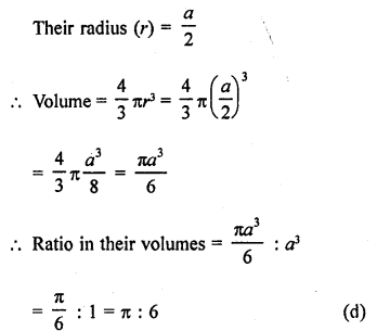 RD Sharma Class 9 Solutions Chapter 21 Surface Areas and Volume of a Sphere MCQS 10