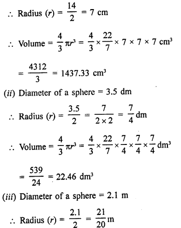 RD Sharma Class 9 Solutions Chapter 21 Surface Areas and Volume of a Sphere Ex 21.2 2