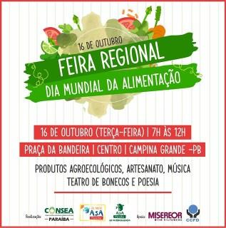 A feira regional marca o Dia Mundial da Alimentação e conta com programação cultural e venda de produtos agroecológicos. - Créditos: Divulgação