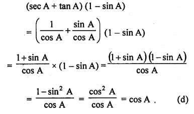 RD Sharma Class 10 Solutions Chapter 11 Trigonometric Identities MCQS - 27
