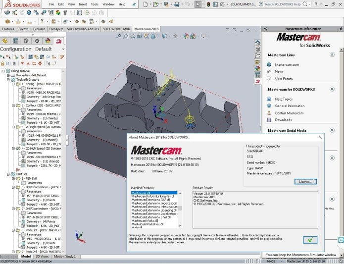 Machining with update 1 Mastercam2019 for SolidWorks