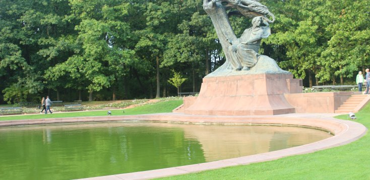 Statue of Frederic Chopin in Lazienki park, Warsaw, Poland
