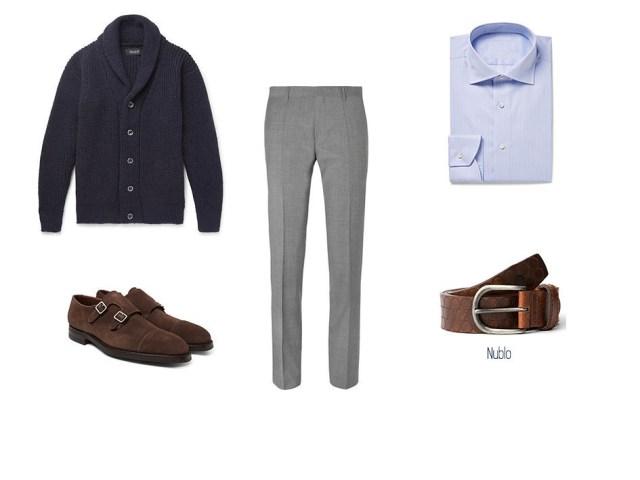 Élégant et casual avec gilet, mocassins en daim marron, ceinture à trous bleus Nublo, chemise bleue et pantalon de costume