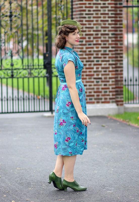 Aqua floral-and-bow 1940s dress