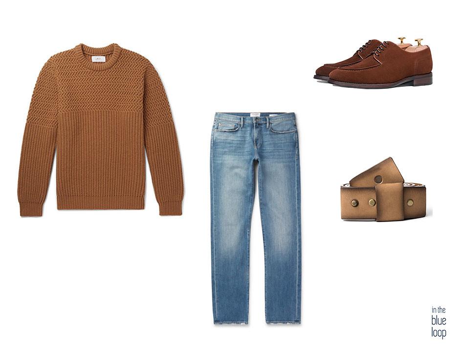 Look casual con vaqueros, cinturón Famara de blue hole, jersey y zapatos derby en ante marrón