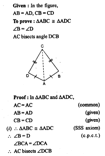 Selina Concise Mathematics class 7 ICSE Solutions - Congruency Congruent Triangles-ex3a