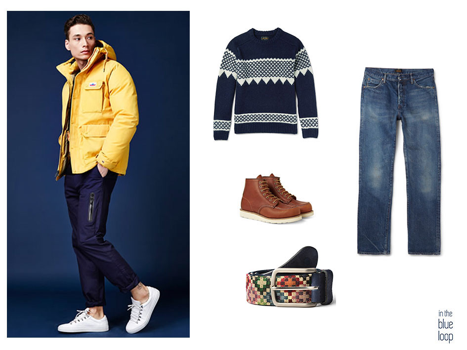 Casual masculino con sweater azul, cinturón tauce de blue hole, botas y vaqueros o jeans