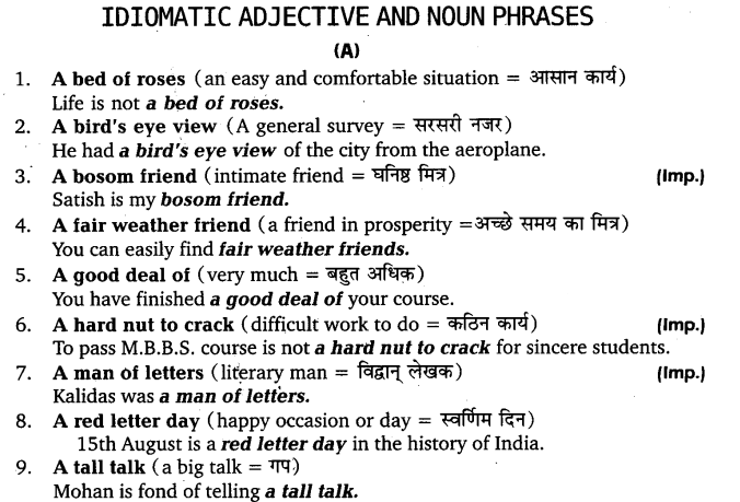 UP Board Solutions for Class 11 English Vocabulary Chapter 9 Idioms and Phrases 1